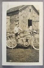 1910-12 HARLEY DAVIDSON MOTORCYCLE w/ rear fender rack RPPC real photo postcard