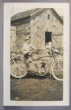 1910-12 HARLEY DAVIDSON MOTORCYCLE w/ rear fender rack RPPC real photo postcard