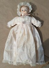 """Porcelain Baby Doll Awake 12"""" tall with Lacey Dress and Bonnet Bows Vintage"""