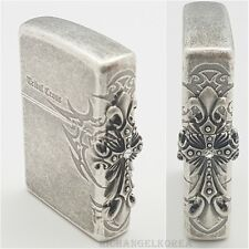 Zippo Lighter 3PCS Side Tribal Cross Silver  Antique Vintage Windproof USA