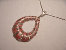 Wonderful Estate .925 Sterling Silver Pink Enamel Diamond Necklace