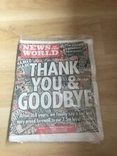 Last Ever News Of The World Newspaper In Cellophane - Collectors Item July 2011