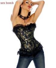 SEXY corsetto burlesque BROCCATO tag. 40,42,44,46,48,50,52,54,56 BLU/ORO+TANGA !