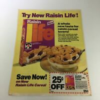 VTG Retro 1985 Quaker Raisin Life Cereals Oat Biscuits Print Ad Coupon