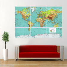 Modern World Map Poster Giant Huge Print  Wall Art Large Room Decor QT