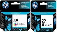 HP HEWLETT PACKARD HP 29 BLACK HP 49 COLOUR INK CARTRIDGE 51629A 51649A
