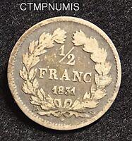 1/2 FRANC  ARGENT  LOUIS PHILIPPE I°   1831 W  LILLE