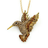 Betsey Johnson Crystal Rhinestone Hummingbird Pendant Chain Necklace/Brooch Pin