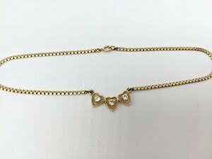 """14K Solid Yellow Gold Diamond Hearts Ankle Bracelet Anklet 9"""" (3.91g)"""