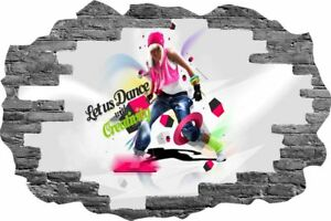 3D Hole in Wall Girl Street Dancing View Sticker Decal Wallpaper Mural 1101 Grey