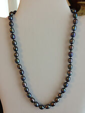 HONORA 7MM BLACK PEARL NECKLACE 14K WHITE GOLD CLASP BEAUTIFUL LUSTER! QVC