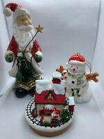 Vintage Santa Claus & House & Snow Man Christmas Decor Figurine Gifts