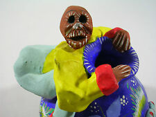 Vintage Day of the Dead Talavera Skeleton Ceramic Hand Painted Pot Vase Mexican