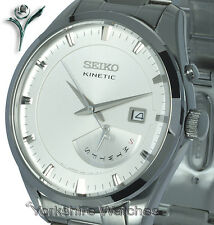 New SEIKO KINETIC SILVER FACE Retro Day Date STAINLESS STEEL BRACELET SRN043P1