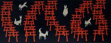 Tenugui Japanese Fabric Cotton Fushimi Inari Shrine Foxes and Torii Gates Motif