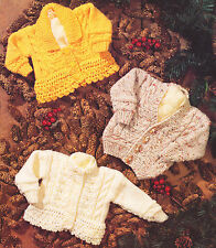 """Chunky Wool Baby Cardigans -Choice of Neck-Plain or Lacy Edge- 16"""" - 26"""" To Knit"""