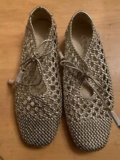 Zara Basic Collection Gold Woven Flats Size EU 40 Holiday Perfection