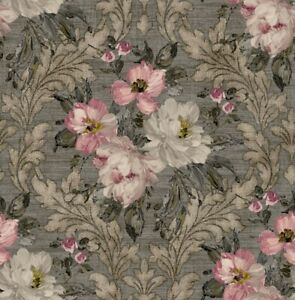 Floral Wallpaper Ivory Marengo Rose Platinum Damask Style Samples Available