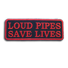 Loud Pipes Save Lives Patch Iron on Harley Chopper Rocker Biker Vest Rider Cafe