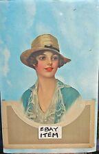 Circa 1950's SALESMAN SAMPLE diecut & embossed CALENDAR pretty lady wearing HAT
