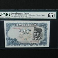 Spain 1971 (ND 1973) 500 Pesetas, Pick # 153a, PMG 65 EPQ Gem Unc