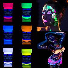 UV Blacklight Fluorescent Glow Nights In The Dark Neon Fabric Paint Parties 8 pc