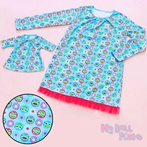 Girl and 18 inch Doll Matching Nightgown Pajamas Medium 7/8 Blue Frog American