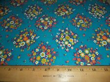BLUE BACKGROUND WITH FLOWER BOUQUETS FABRIC - 3.5 YARDS IN STOCK - BY THE YARD