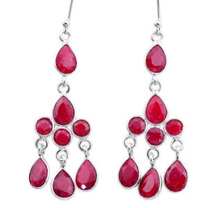 11.64cts Natural Red Ruby 925 Sterling Silver Chandelier Earrings Jewelry T12352