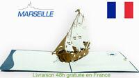 Bateau de Soleil-carte pop up 3D «MARSEILLE» voeux voyage