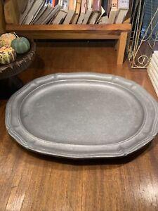 "Wilton Armetale Large 14"" Oval Pewter Serving Platter~Queen Anne Design~"