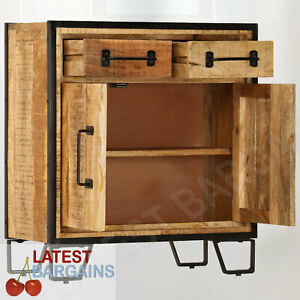 Buffet Sideboard Storage 2 Drawers Cabinet Cupboard Wooden Steel Timber Kitchen
