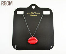 Zara Kissing Lips Pendant Long Necklace with double gunmetal colored chain