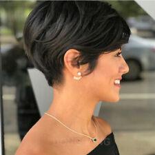 100% Brazilian Human hair Short Straight Black Pixie Cut Full Hair Wig UK Women