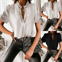 Womens V Neck Lace Short Sleeve T-shirt Ladies OL Summer Casual Blouse Tops Tee