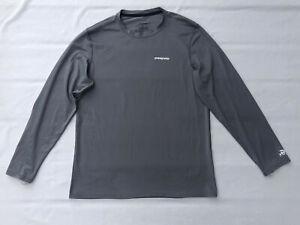 Patagonia Long Sleeve Flying Fish UPF50 Men's Size Medium M Grey Polyester