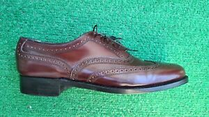 Vintage Florsheim Royal Imperial Mens 8.5 C Burgundy Leather Wingtip Shoes 97323