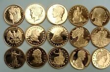 ALL DIFFERENT PARTIAL ROLL OF  15 - 1 OZ AVDP .999 FINE COPPER ROUNDS