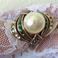 Stuning Pearl Ring For Women Antique Gold Wedding Party Female Turkish Size 8