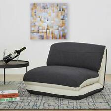 Schlafsessel HWC-E68, Relaxsessel Schlafsofa, Stoff/Textil creme/schwarz