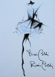 Pierre Cardin: Dress Flying Blue - Illustration High Sewing Pastel, 1991
