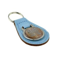 Light Blue Bonded Leather & Metal Keyring Awesome Nephew Looks Like Fathers Day