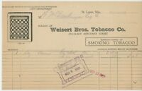 1933 Weisert Brothers Tobacco Co. Billhead St. Louis Missouri Checkers Smoking