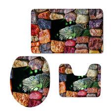 Chameleon Bathroom Mat Set Toilet Cover Seat 3pcs Soft Durable Floor Carpet Rug