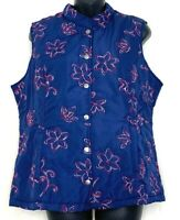 Norm Thompson Womens Puffer Vest Floral Embroidered Blue Snap Button Size Large