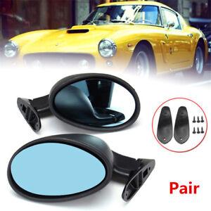 Pair L+R California Classic Universal Black Hotrod/Muscle Car Side Mirror Set