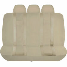 5 PIECE SOLID BEIGE DOUBLE STITCH POLYESTER BENCH COVER TRUCK UAA-7 NEW SET