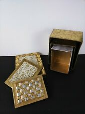 Holiday Nesting Stackable Set of 3 Christmas Boxes Gold foil beaded Decoration