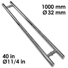 "Stainless Steel Modern Front Entry Door Pull Handle Ø32*1000 mm 40"" Long Satin"