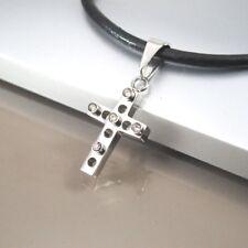 Argent Gothique Celtique Cristal Pendentif Croix 3 mm en Cuir Noir Tribal Collier